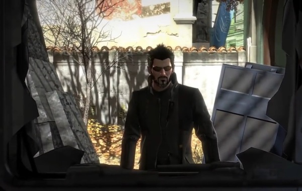 Adam Jensen Deus EX smashes wall