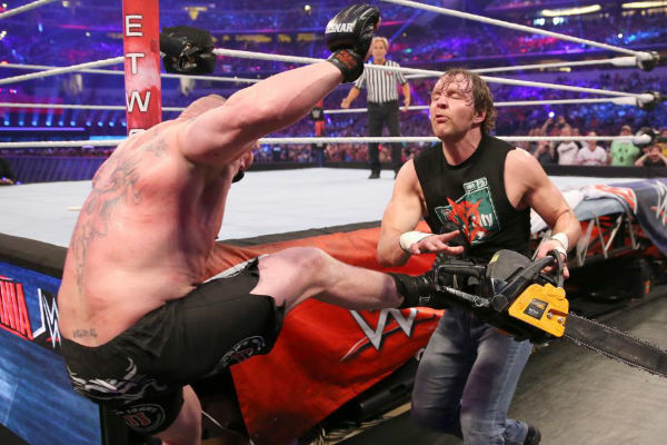 Ambrose Chainsaw vs Lesnar